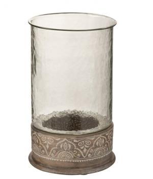 Drevený svietnik so skleneným nástavcom Amoro - Ø 19 * 30 cm