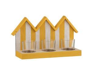 Drevený svietnik žlto biele plážové domčeky s tromi sklenenými miskami na čajovú sviečku - 25,5 * 8,5 * 15 cm