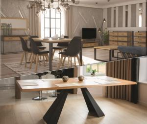 Drewmax Jedálenský stôl Metal ST370 / dub Farba: Dub bielený, Prevedenie: D 220 x 75 x 100 cm