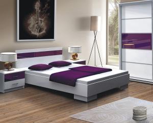 DUBLIN posteľ 160x200, biela/fialová