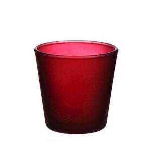 DUIF Sklenený svietnik na čajovú sviečku DENVER 7,5cm bordó
