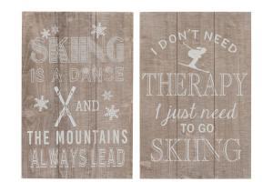 Dve drevené cedule Skiing - 40 * 60cm