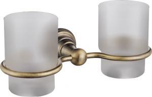 Dvojitý držiak na pohár DIAMOND, retro, bronz, sklo