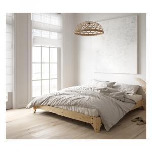 Dvojlôžková posteľ z borovicového dreva s matracom Karup Design Elan Comfort Mat Natural/Black, 160 × 200 cm