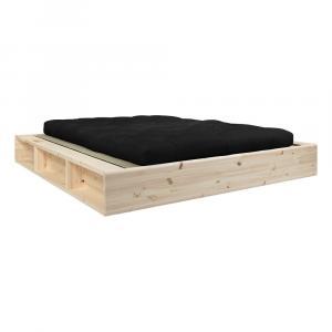 Dvojlôžková posteľ z masívneho dreva s čiernym futónom Comfort a tatami Karup Design, 140 x 200 cm