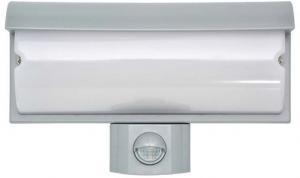 Ecolite Nástenné LED svietidlo 9W s PIR čidlom strieborné WHLX84-STR