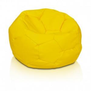Ecopuf Detský MINI sedací vak ECOPUF - FOOTBALL S KIDS - ekokoža E18 - Žltá