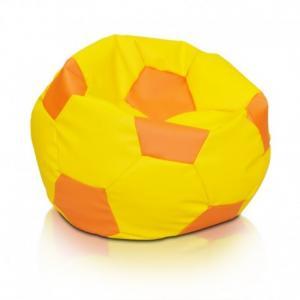 EF1041 Ecopuf Detský MINI sedací vak ECOPUF - FOOTBALL S KIDS - ekokoža E4 - Oranžová