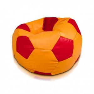 Ecopuf Sedací vak ECOPUF - FOOTBALL M farebný - ekokoža Červená, E13 - Tmavo hnedá