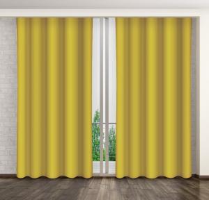 Elegantný záves horčicovo žltej farby