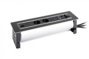 Elektrická zásuvka VERSATURN 2x230V,2xUSB,2xRJ45,HDMI, otočná Farba: Nerez