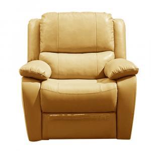Elektrické relaxačné kreslo, koža/ekokoža žltá, VIVAN