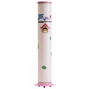 Elobra Stojaca lampa Sova pre detskú izbu, bielo-ružová