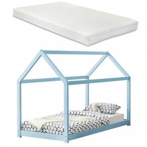 [en.casa] Detská posteľ AAKB-8683M s matracom a roštom - 90x200 cm - svetlo modrá