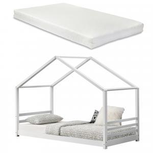 [en.casa] Detská posteľ AAKB-8693 biela s matracom a roštom 90x200 cm