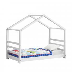 [en.casa] Detská posteľ domček AAKB-8698 biela 80x160 cm s roštom