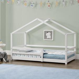 [en.casa] Detská posteľ domček AAKB-8742 biela 70x140 cm