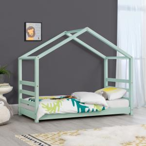 [en.casa] Detská posteľ domček AAKB-8758 mätovo zelená 80x160 cm