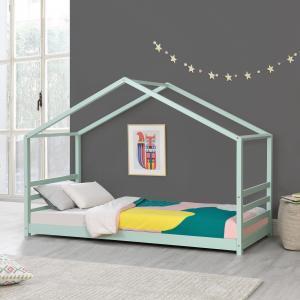 [en.casa] Detská posteľ domček AAKB-8760 mätovo zelená 90x200 cm