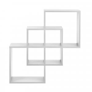 [en.casa]® Dizajnová polica na stenu - biela - model 24
