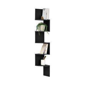 [en.casa]® Dizajnová polica na stenu - čierna - model 22