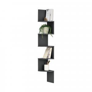 [en.casa]® Dizajnová polica na stenu - tmavo sivá - model 22