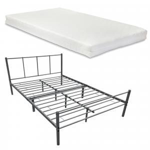 [en.casa] Kovová posteľ »Laos« AADB-1748 140x200 cm tmavo sivá s matracom a roštom