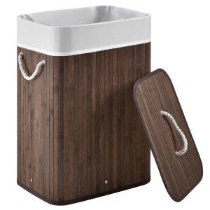 Eshopist Bambusový kôš na prádlo Curly 72 litrový, hnedý s vrecom na bielizeň a s uškami na prenášanie, 300342