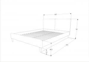 Eshopist Čalúnená posteľ ACOMA 160 x 200 cm farba šedá/dub