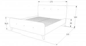 Eshopist Čalúnená posteľ MALMO VELVET 160 x 200 cm farba námornícka modrá / dub