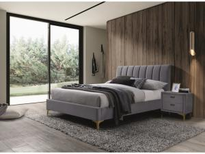 Eshopist Čalúnená posteľ MIRAGE VELVET 160 x 200 cm farba šedá / zlatá