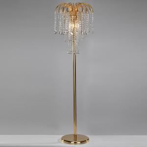 EULUNA Stojaca lampa Pioggia s krištáľovým dažďom, zlatá