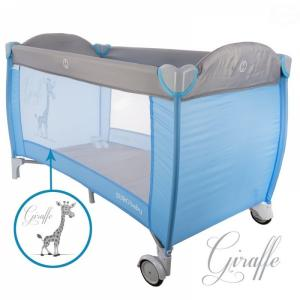 EURO BABY - Dětská cestovná posteľ Žirafa - modrá/sivá, K19