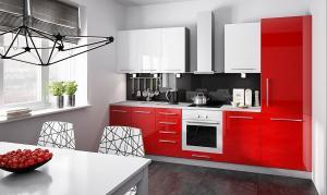 EXT Kuchynská linka Platinum N FARBA VRCHNÝCH DVIEROK: ROSE RED, FARBA SPODNÝCH DVIEROK: BIELA