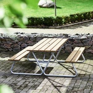 Extra dlhý záhradný stôl s lavicou Picnic, 1800 mm, hnedá