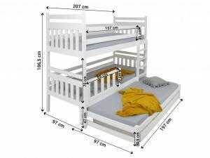FA Poschodová posteľ s prístelkou Petra 5 180x80 Farba: Dub