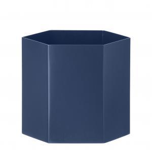 ferm LIVING Kovový kvetináč Hexagon Blue L