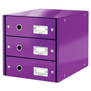 Fialová škatuľa s 3 zásuvkami Leitz Office, 36 x 29 x 28 cm