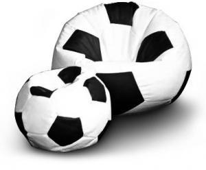 FITMANIA Sedací vak Futbalová LOPTA MÍČ XXL + podnožník Vzor: 01 bílo-černá
