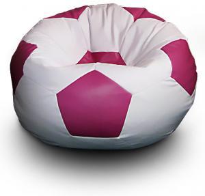 FITMANIA Sedací vak Futbalová LOPTA MÍČ XXL + podnožník Vzor: 02 BÍLO-RŮŽOVÁ