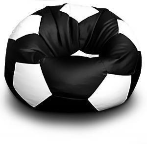 FITMANIA Sedací vak Futbalová LOPTA MÍČ XXL + podnožník Vzor: 04 ČERNO-BÍLÁ