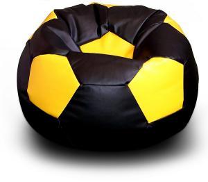 FITMANIA Sedací vak Futbalová LOPTA MÍČ XXL + podnožník Vzor: 07 ČERNO-ŽLUTÁ