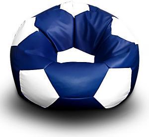 FITMANIA Sedací vak Futbalová LOPTA MÍČ XXL + podnožník Vzor: 11 MODRO-BÍLÁ