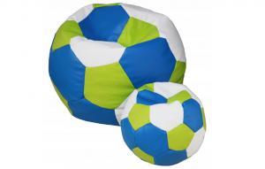 FITMANIA Tříbarevný sedací vak Fotbalový MÍČ XXL + podnožník Vzor: 33 MODRO ZELENO BÍLÁ