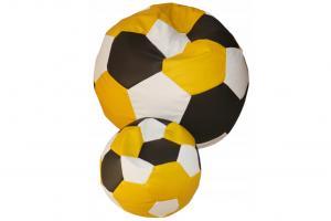 FITMANIA Tříbarevný sedací vak Fotbalový MÍČ XXL + podnožník Vzor: 34 ČERNO ŽLUTO BÍLÁ