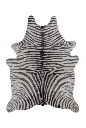 Flair Rugs koberce Kusový koberec Faux Animal Zebra Print Black/White - 155x190 tvar kožešiny cm