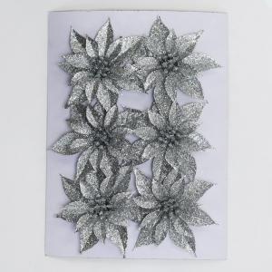 Florasystém Vianočná Poinsettia plast. 8,5cm s/6 strieborná 8002435
