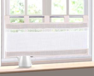 Forbyt, Hotová záclona, Kostička a čipka, béžová, 40 x 80 cm