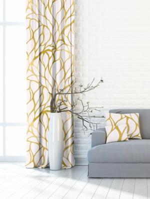 Forbyt, Záves dekoračná alebo látka, OXY trblietanie, žltooranžový 150 cm