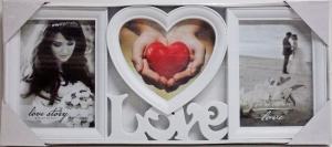 Fotorám na 3 fotky Love Story, biely 49x21cm